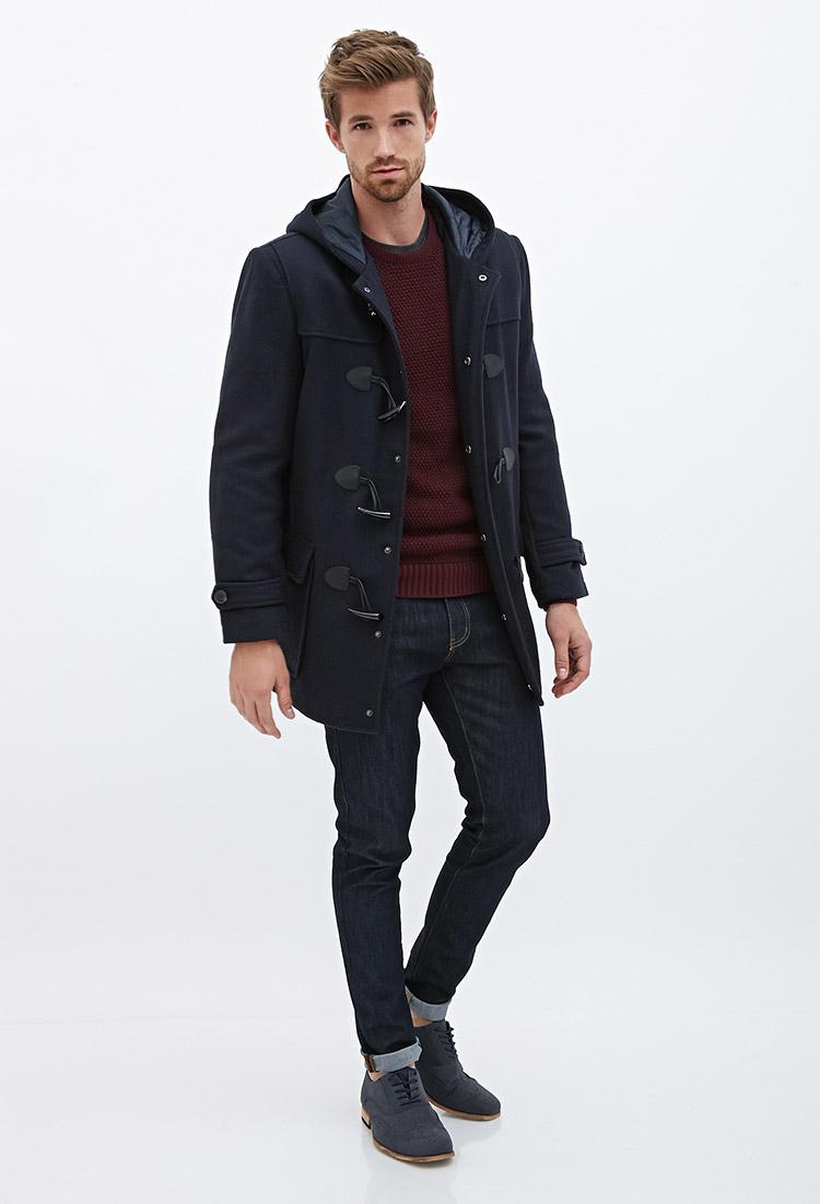 Forever 21 Hooded Wool-blend Duffel Coat in Blue for Men | Lyst