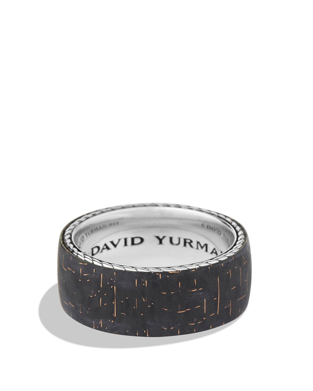 David Yurman Band Ring with Bronze Lightning Strike Carbon Fiber in Silver/Bronze (Black) for Men