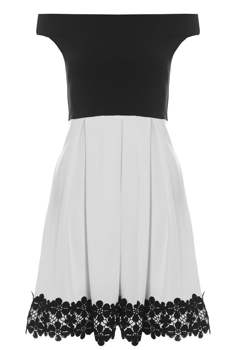 Quiz black and white skater dress