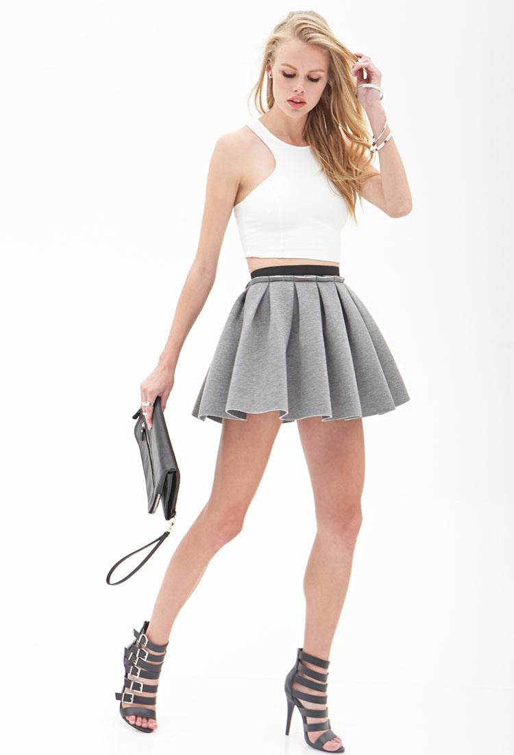 forever 21 structured skater skirt in gray lyst