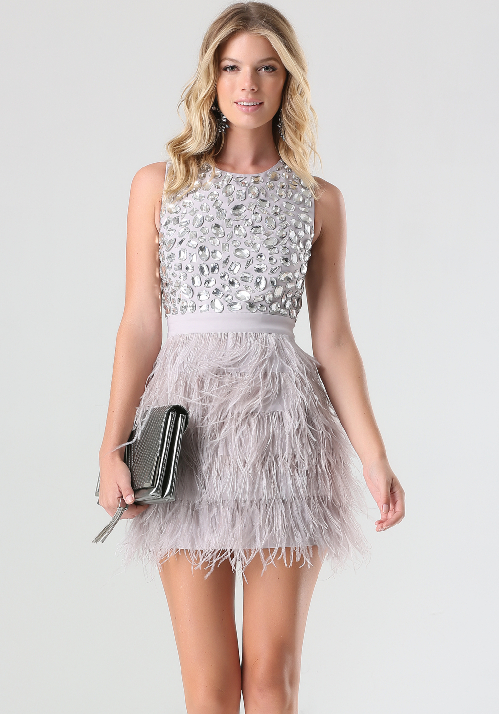 Bebe Rhinestone Feather Dress In Pink Lyst