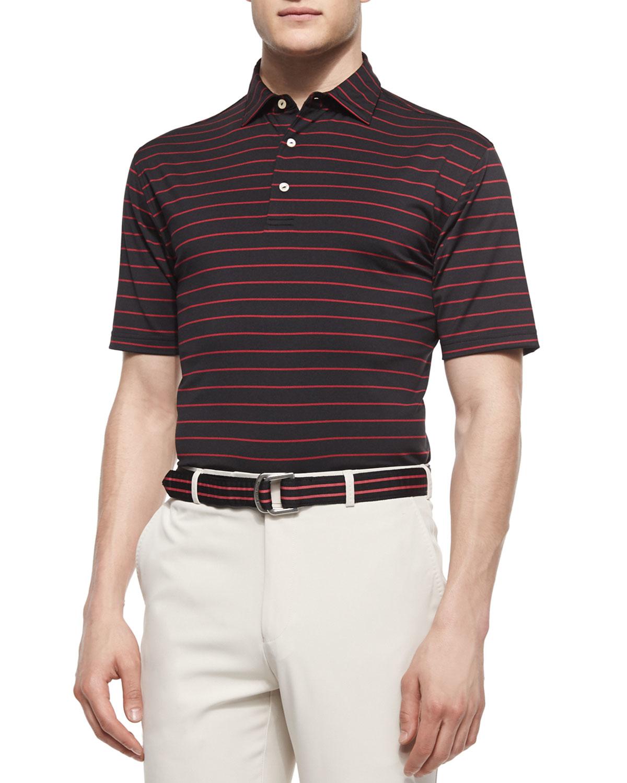 Lyst peter millar striped stretch knit polo shirt in for Peter millar polo shirts
