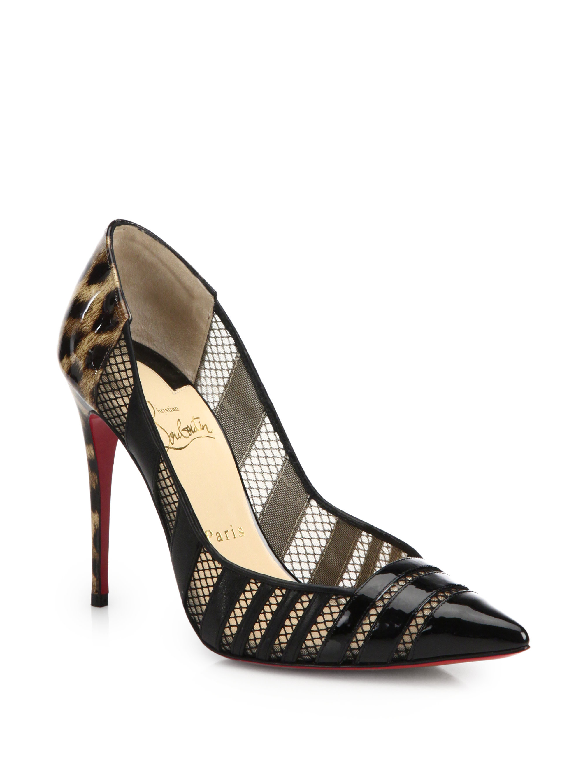 Christian louboutin Bandy Leopard Patent Leather \u0026amp; Mesh Pumps in ...