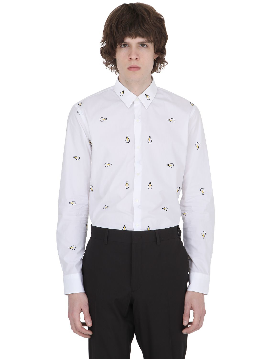 cb60ca9947c752 Lyst - Fendi Lamp Embroidered Cotton Shirt in White for Men
