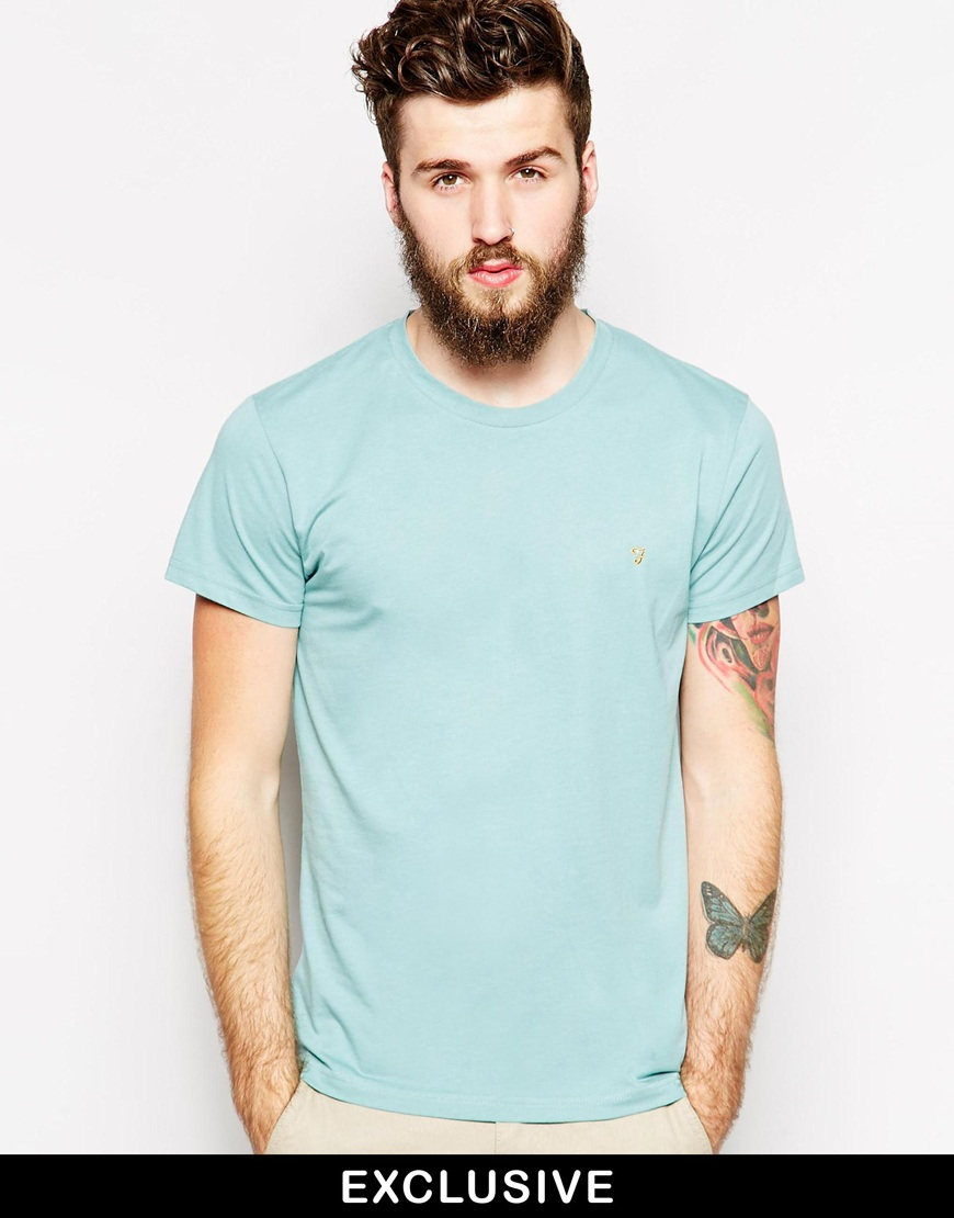 2659d513554 Lyst - Farah T-shirt With F Logo In Slim Fit - Exclusive in Green ...