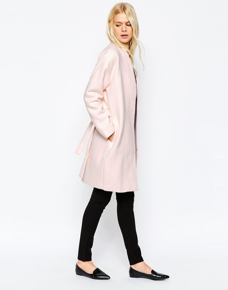 Pieces Pink Wool Wrap Coat - Pink in Pink | Lyst