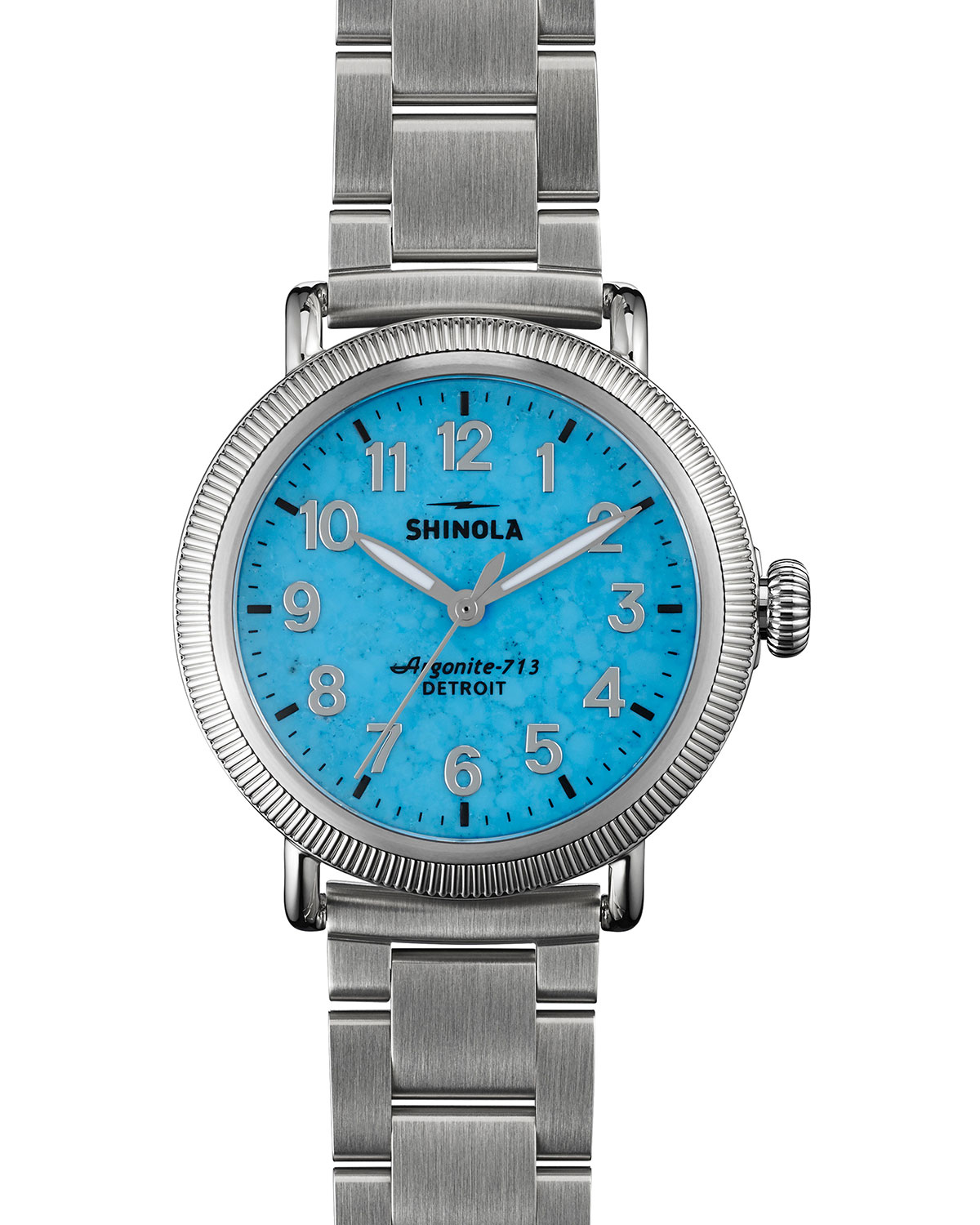 Lyst shinola runwell coin edge watch with bracelet strap in blue for Shinola watches