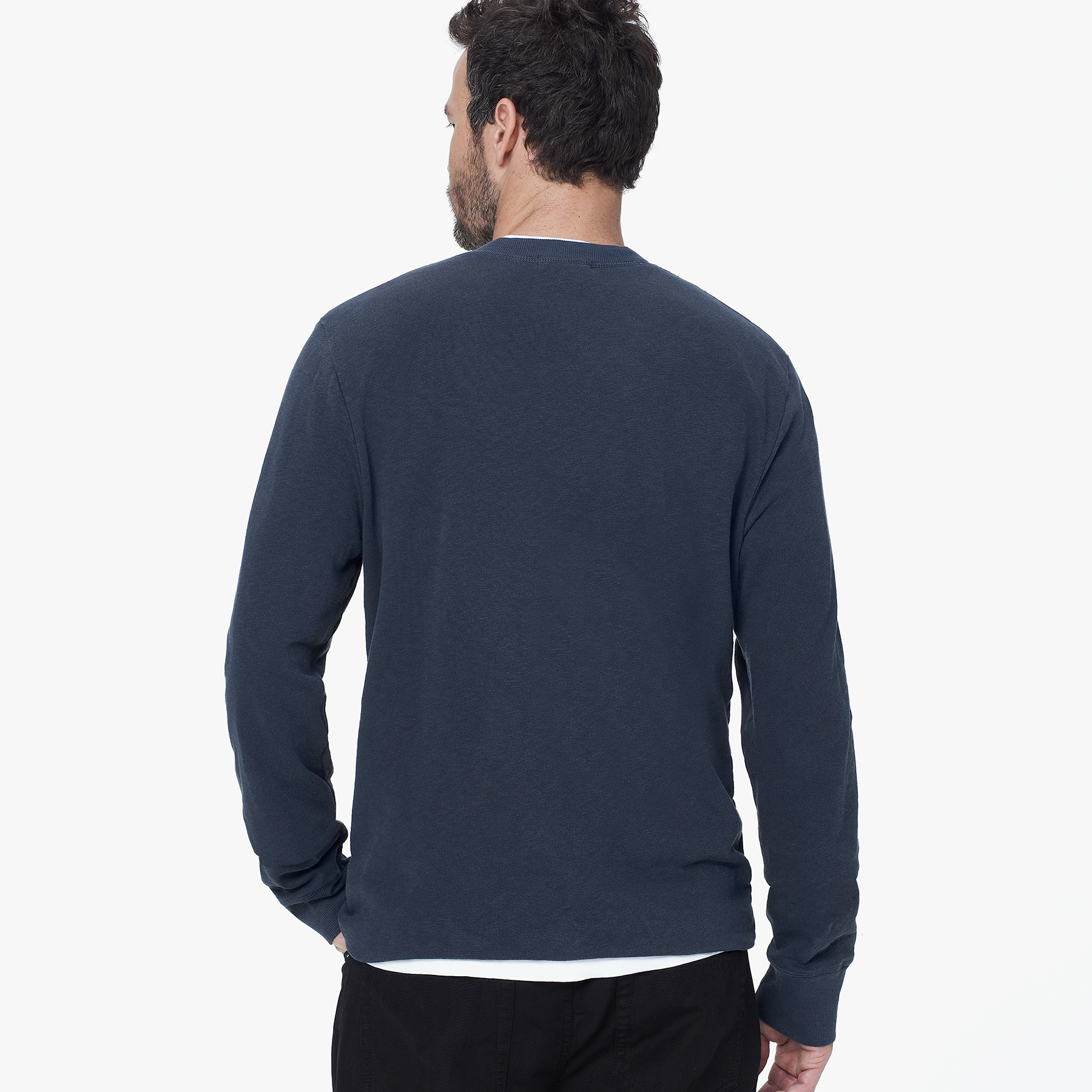 James perse vintage fleece henley in blue for men lyst for James perse henley shirt