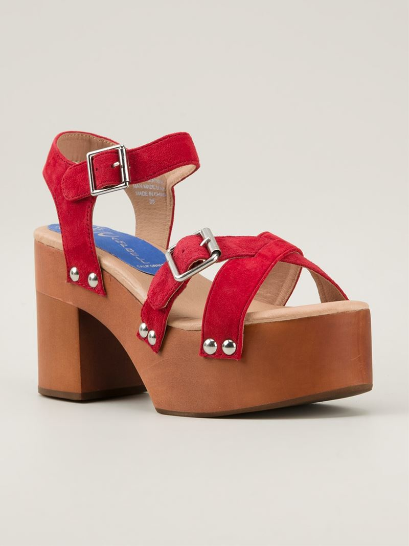 84a7d27234a Lyst - Jeffrey Campbell  peasy  Platform Sandals in Red