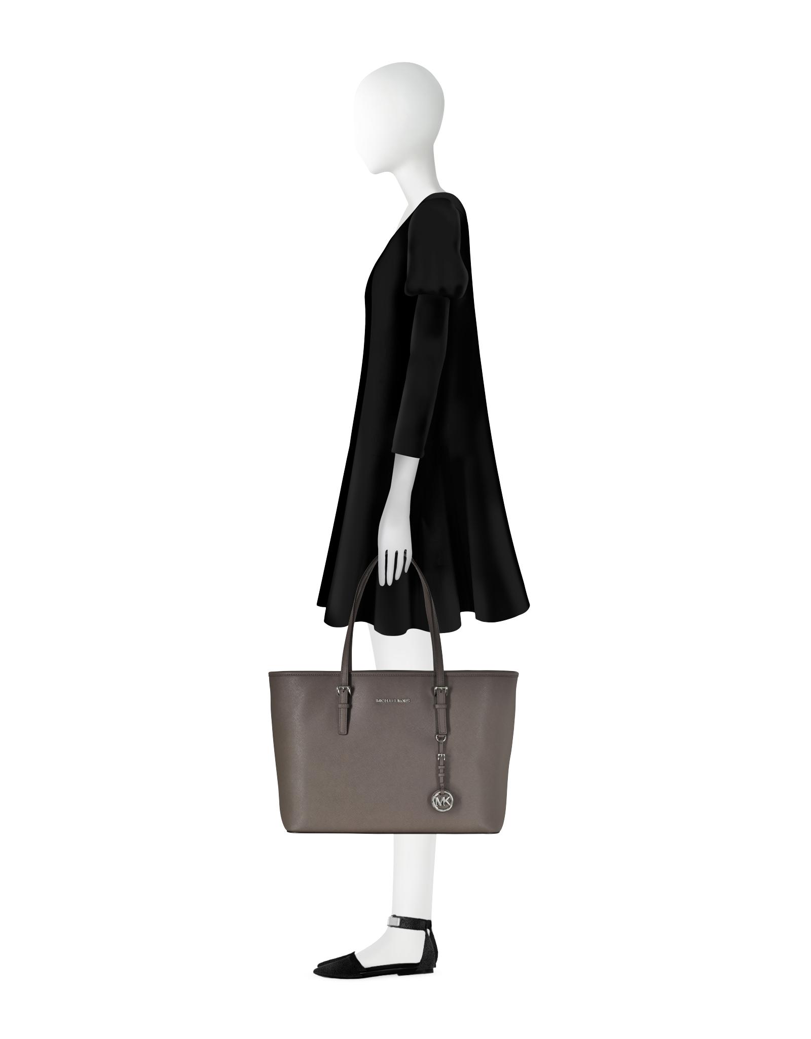 af50938772da2 Lyst - Michael Kors Jet Set Travel Medium Multifunction Cinder Saffiano Tote  Bag in Black