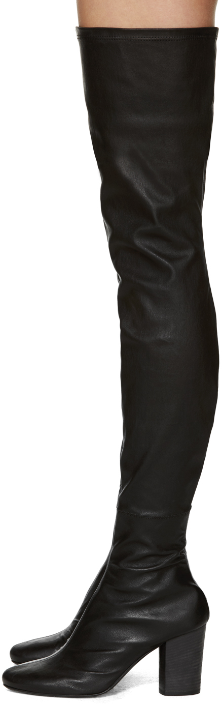 Haider ackermann Black Leather Over-the-knee Boots in Black | Lyst