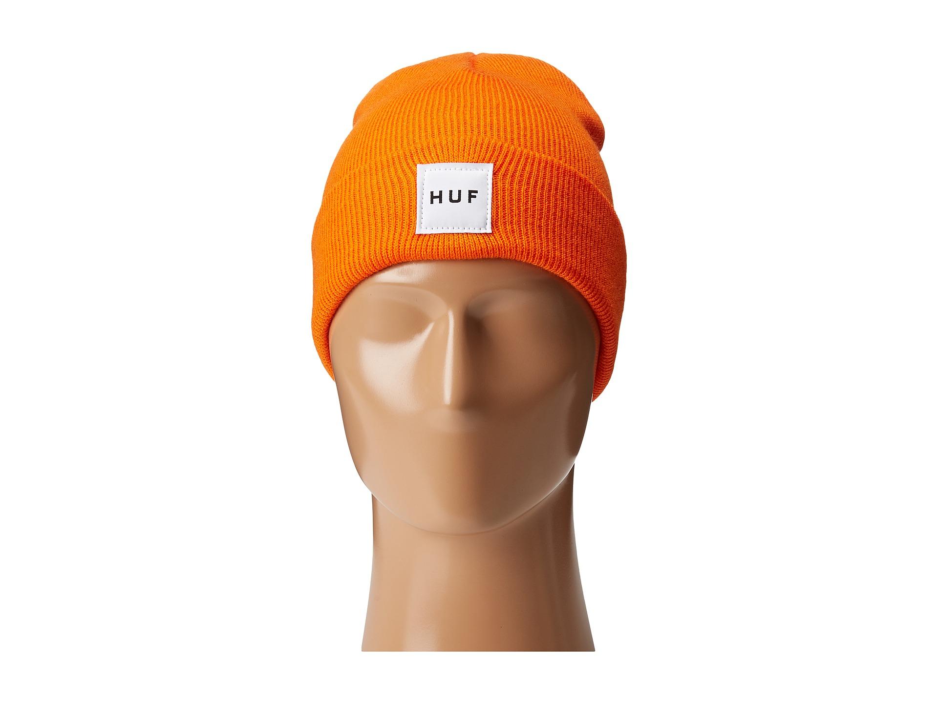 Lyst - Huf Box Logo Beanie in Orange for Men d249f5549078