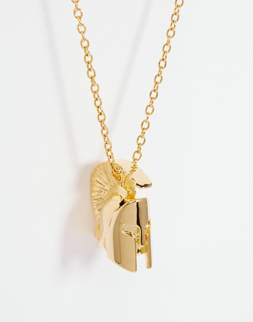 asos necklace with spartan in gold in metallic for