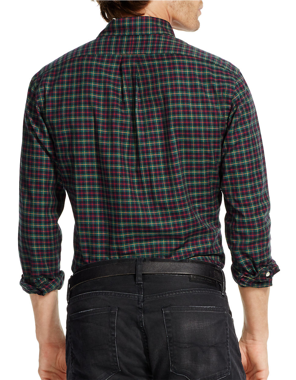 polo ralph lauren slim fit checked twill shirt in green for men lyst. Black Bedroom Furniture Sets. Home Design Ideas