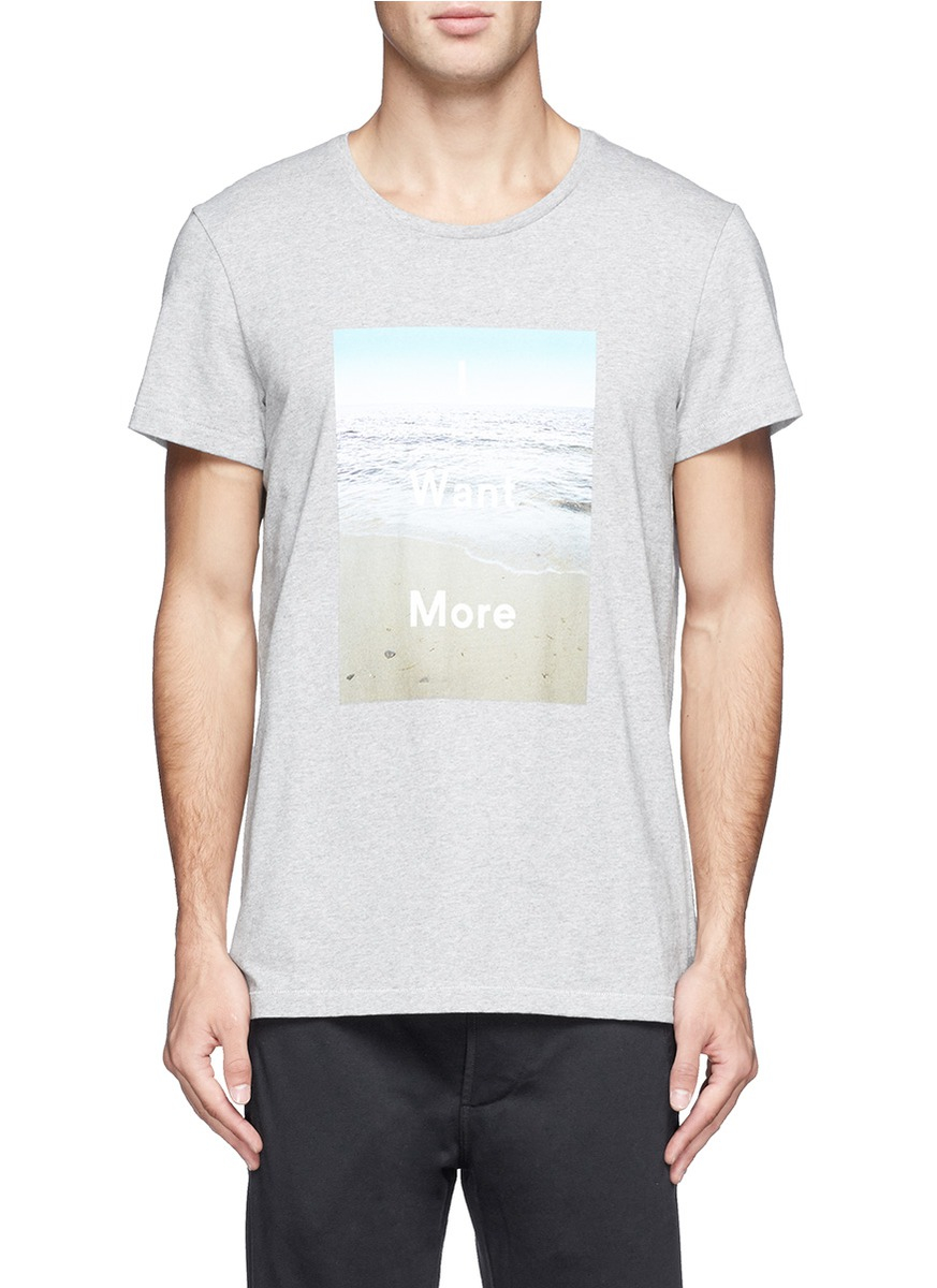 Lyst acne studios 39 i want more 39 beach print t shirt in for I need t shirts printed