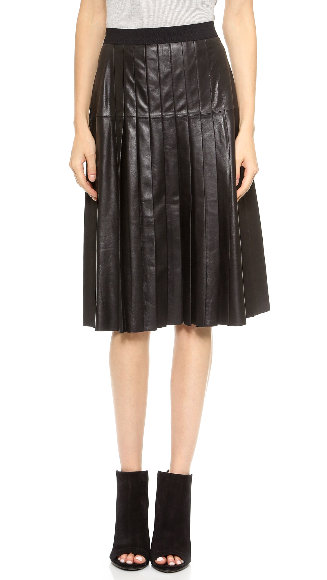 vince leather pleated skirt black in black lyst