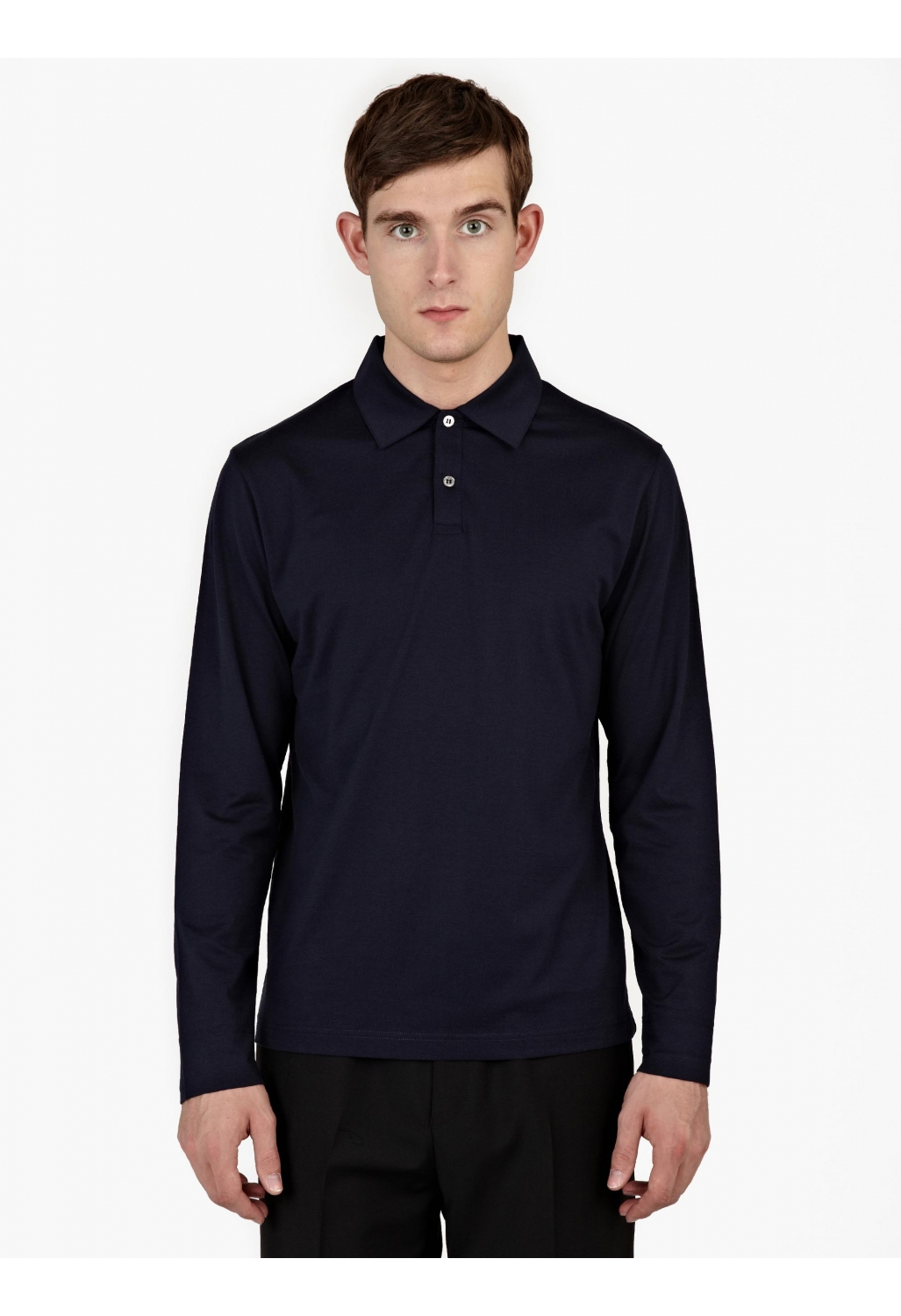 Sunspel Navy Long Sleeved Cotton Polo Shirt In Blue For
