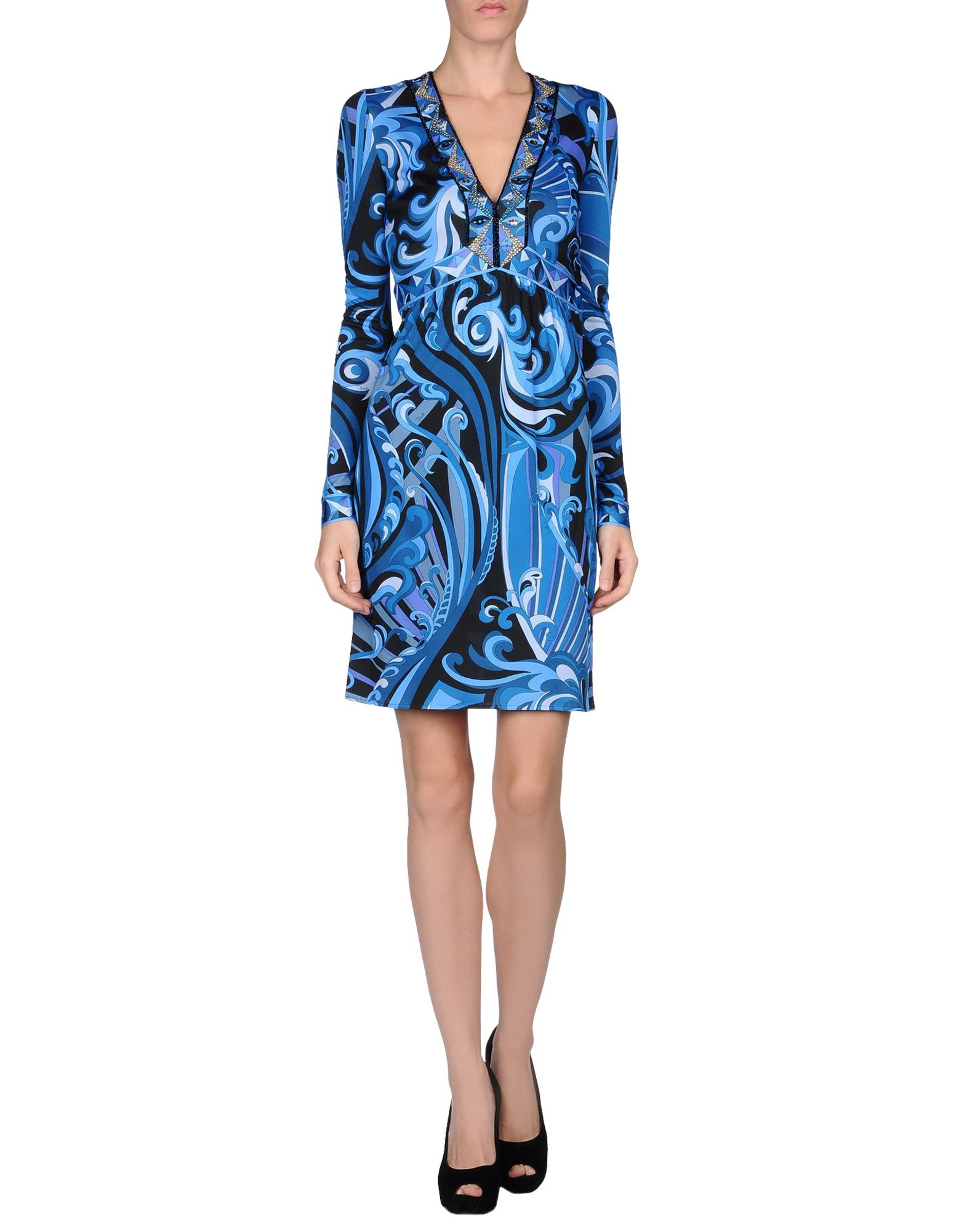 Emilio Pucci Kneelength Dress In Azure Blue Lyst
