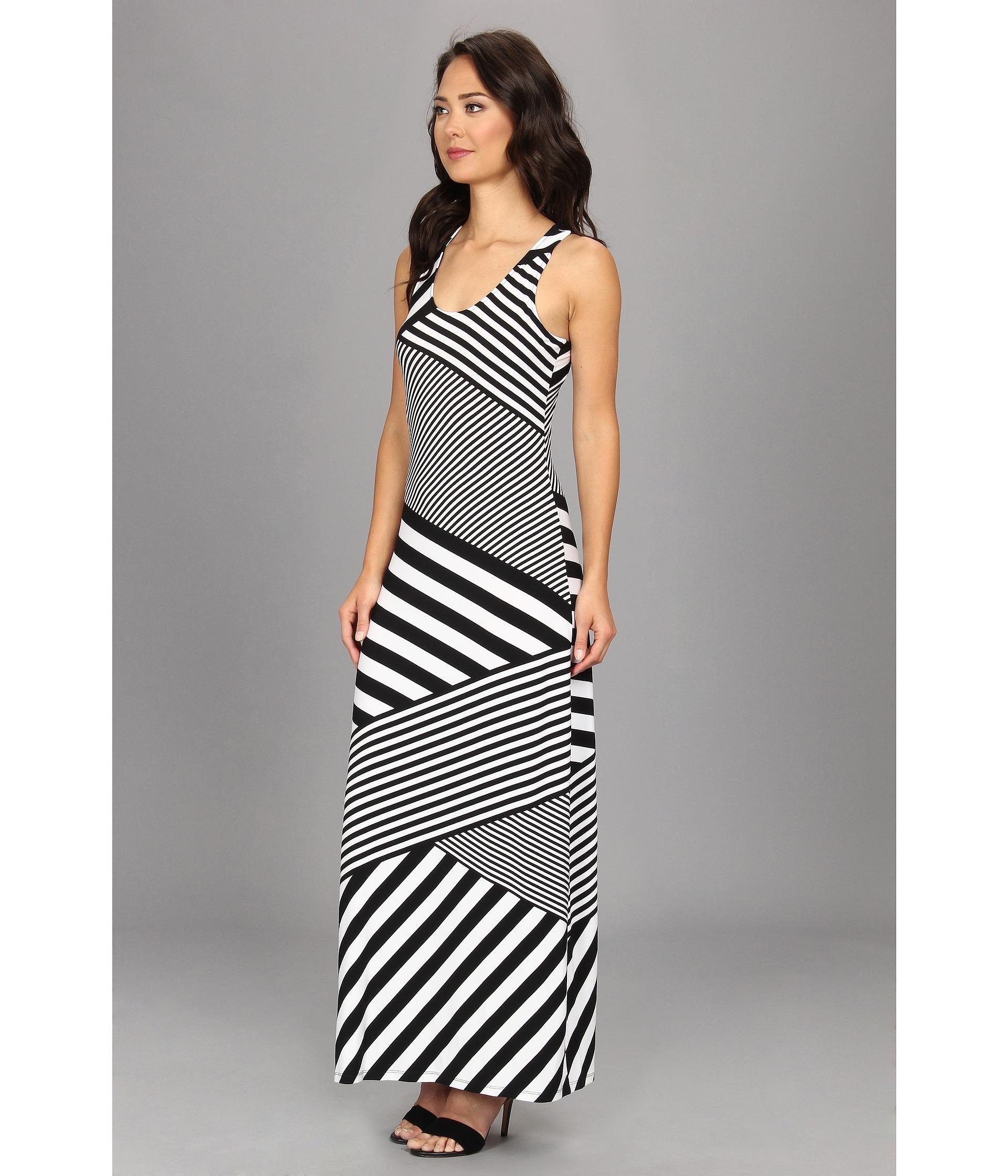 Calvin Klein Striped Mj Maxi Dress In Black White White