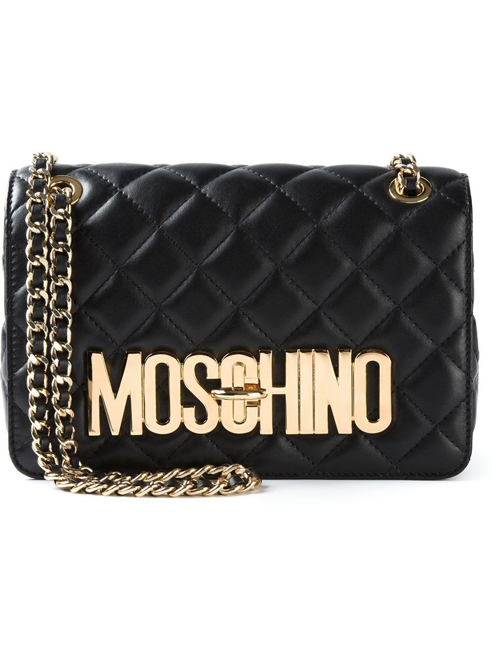 Moschino Quilted Sheepskin Shoulder Bag In Black Lyst