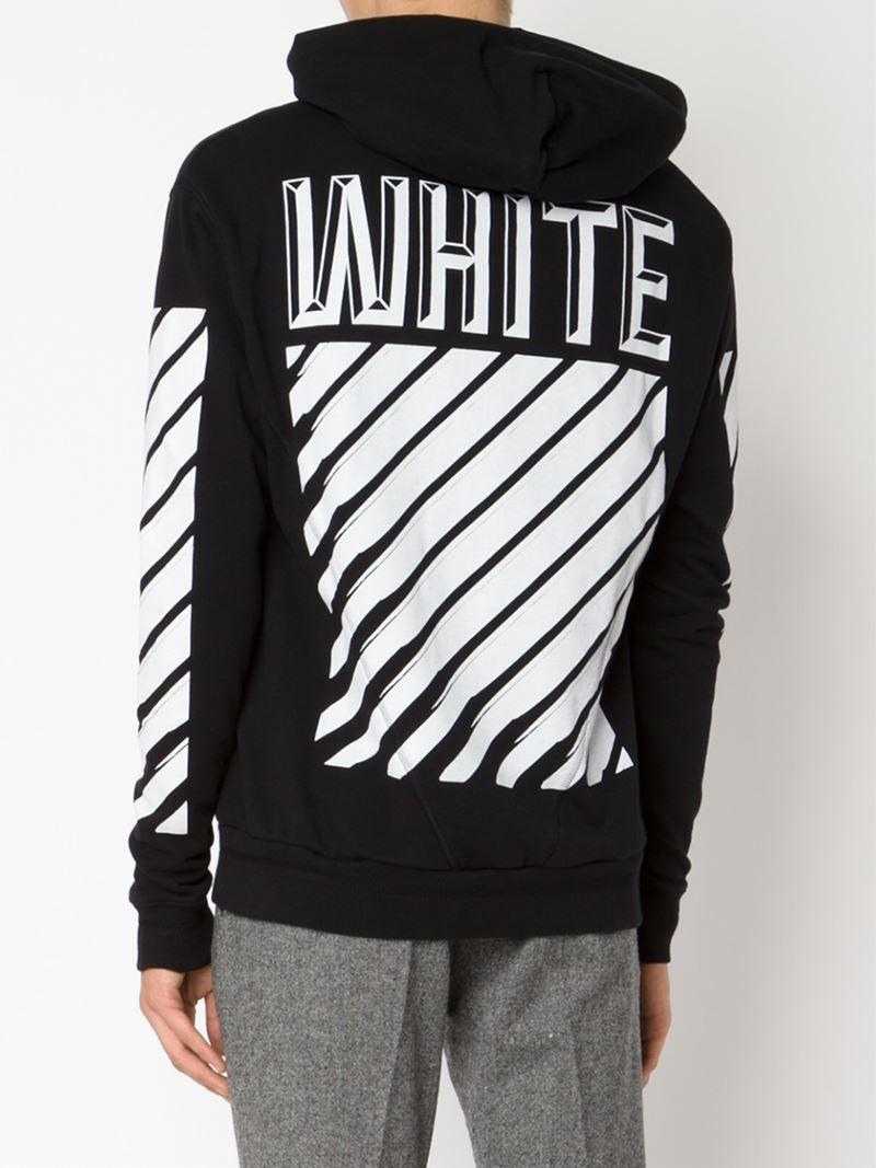 b06ab126874b Lyst - Off-White c o Virgil Abloh Striped Logo Print Hoodie in Black ...