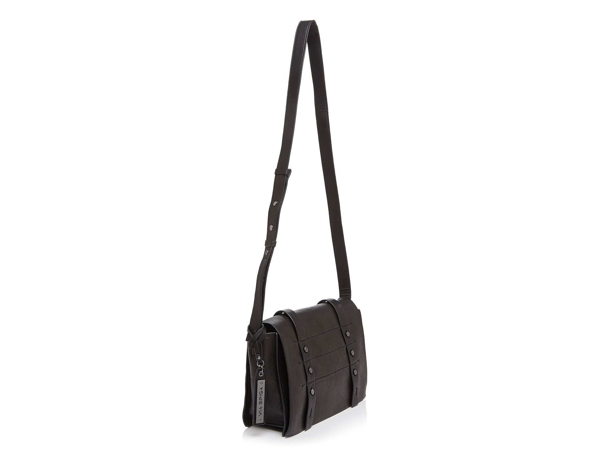 Via Spiga Leather Norma Small Flap Crossbody in Black