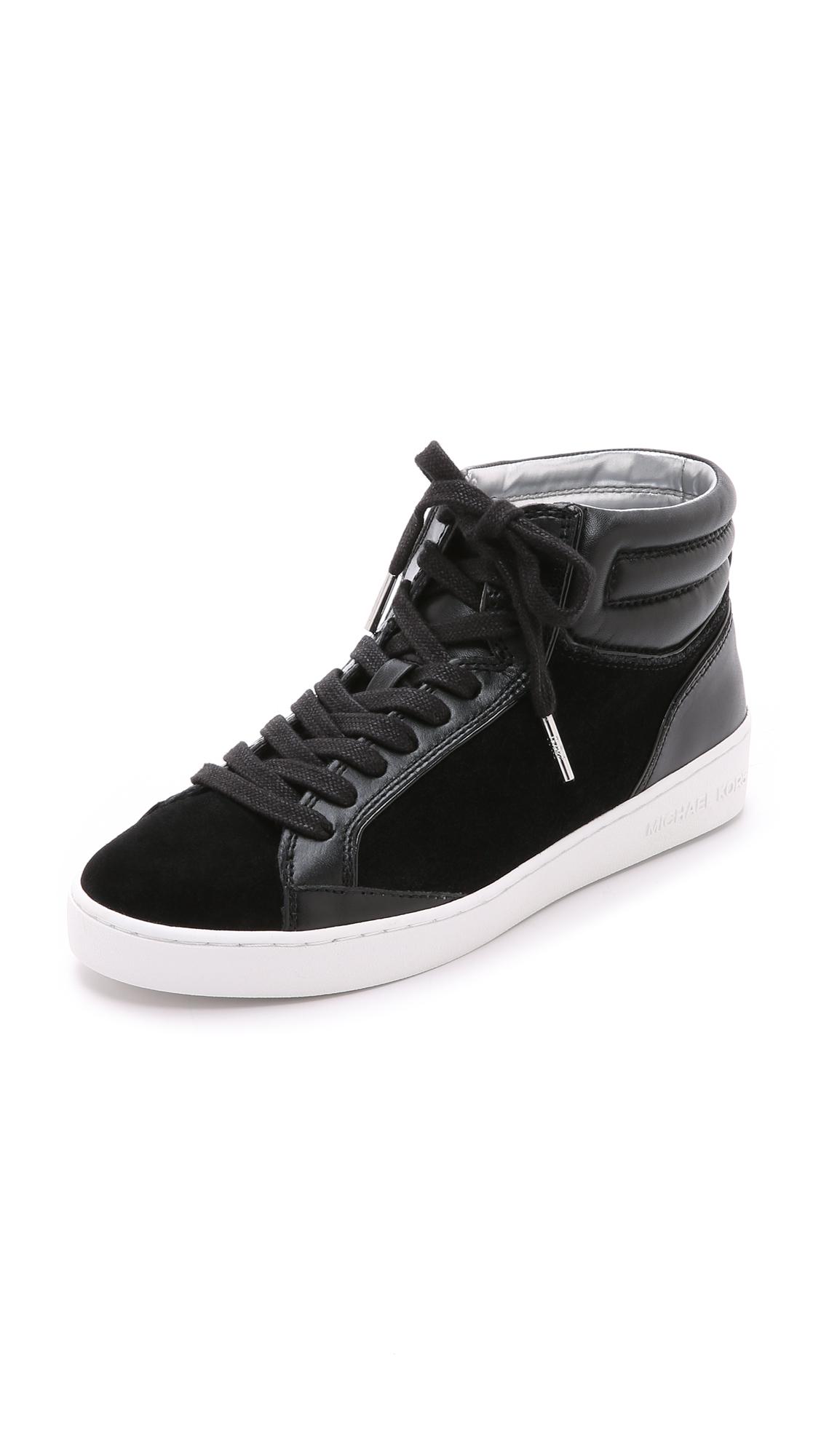 michael michael kors paige high top sneakers black in black lyst. Black Bedroom Furniture Sets. Home Design Ideas