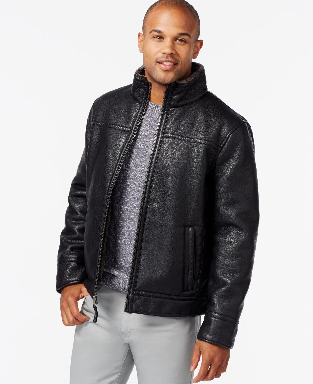 f2bb64801350 Calvin Klein Faux Leather Faux-shearling Jacket in Black for Men - Lyst