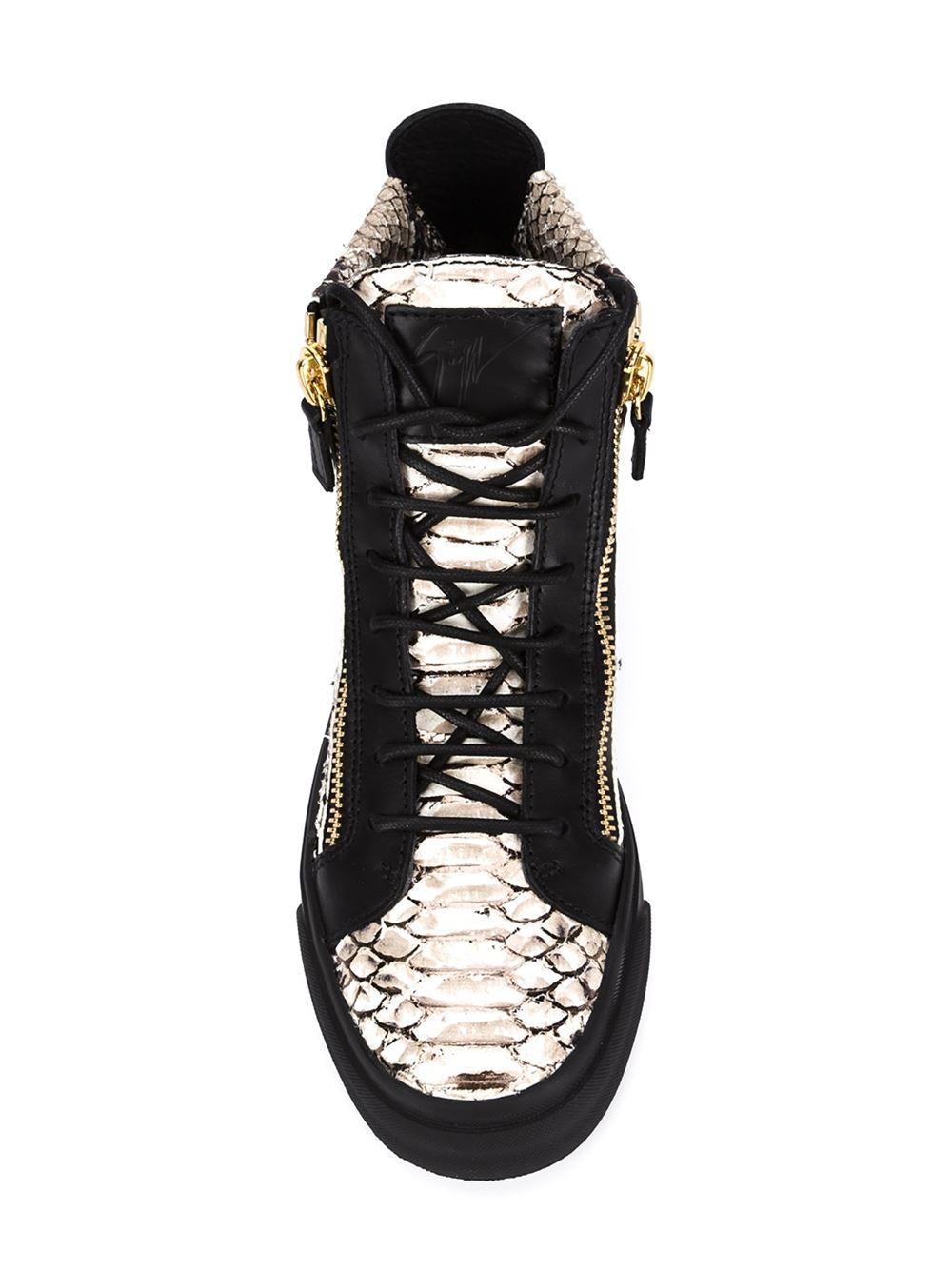 Giuseppe Zanotti Snakeskin Effect Hi-top Sneakers in White