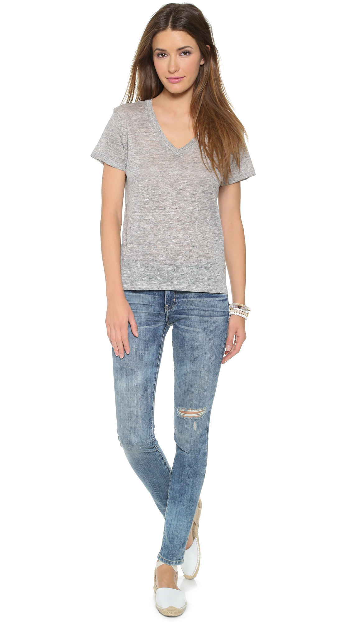 lyst the lady the sailor the boy v neck tee in gray. Black Bedroom Furniture Sets. Home Design Ideas