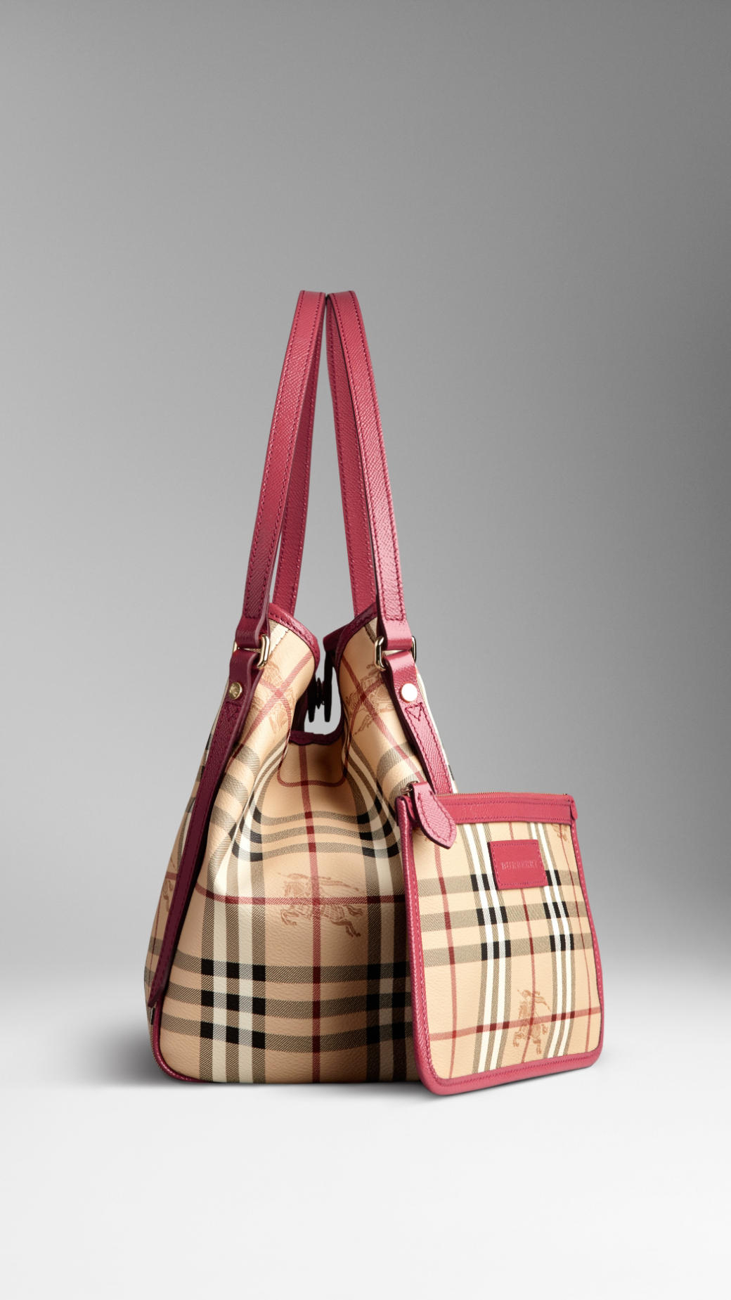 Burberry The Small Canter In Haymarket Check in Pink