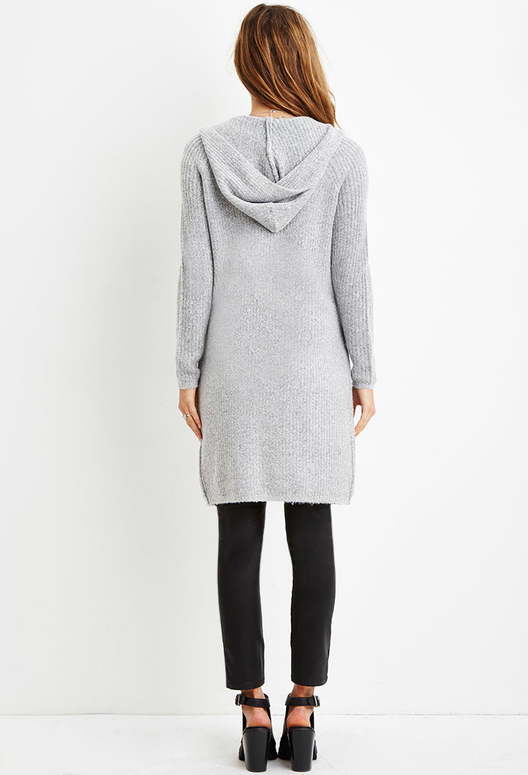 Forever 21 Longline Hooded Cardigan in Gray | Lyst
