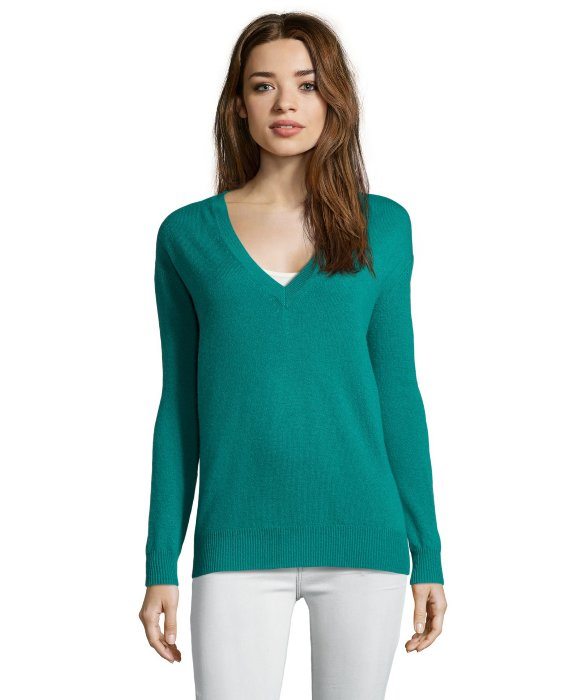 Autumn cashmere Emerald V-neck Boyfriend Cashmere Sweater in Green ...