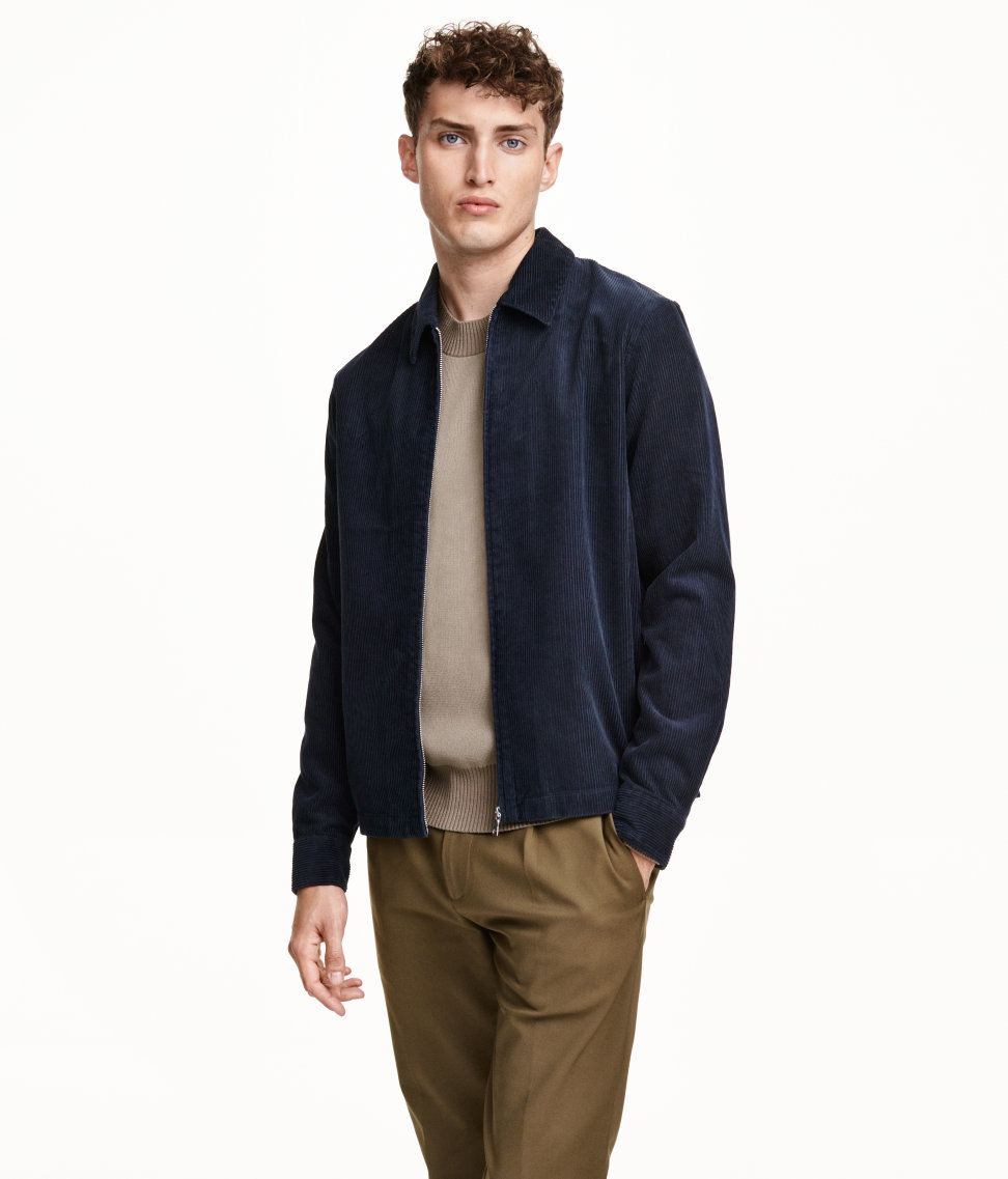 H&m Corduroy Shirt Jacket in Blue for Men | Lyst