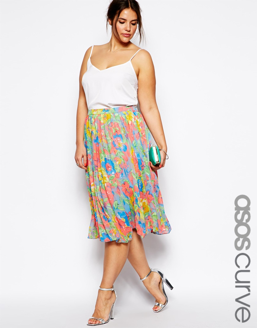 asos pleated midi skirt in bright floral print lyst