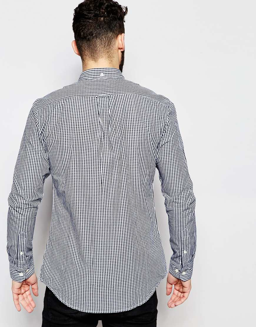Lyst farah shirt with gingham check slim fit exclusive for Slim fit gingham check shirt