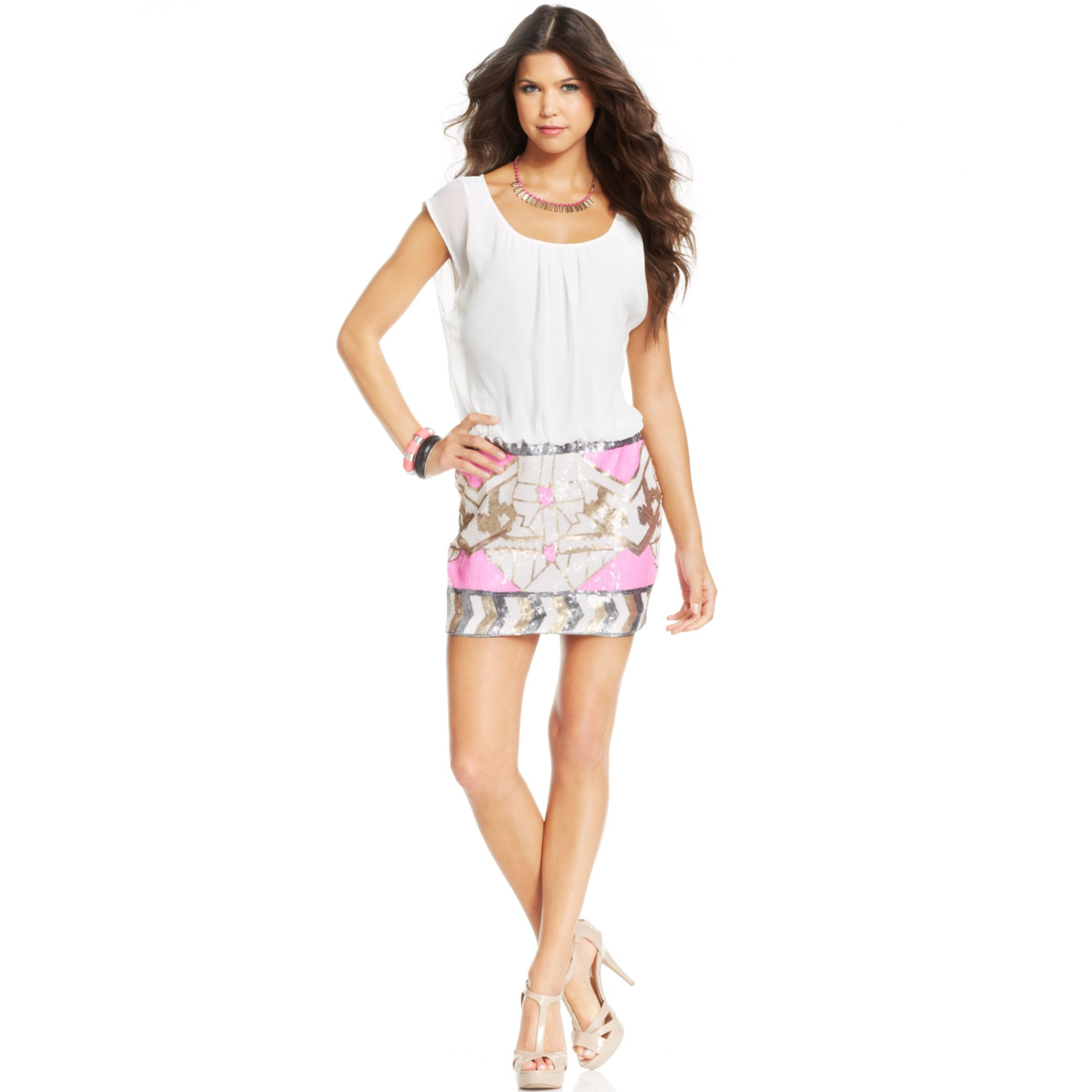 As U Wish Juniors Blouson Sequin Dress In Pink Lyst