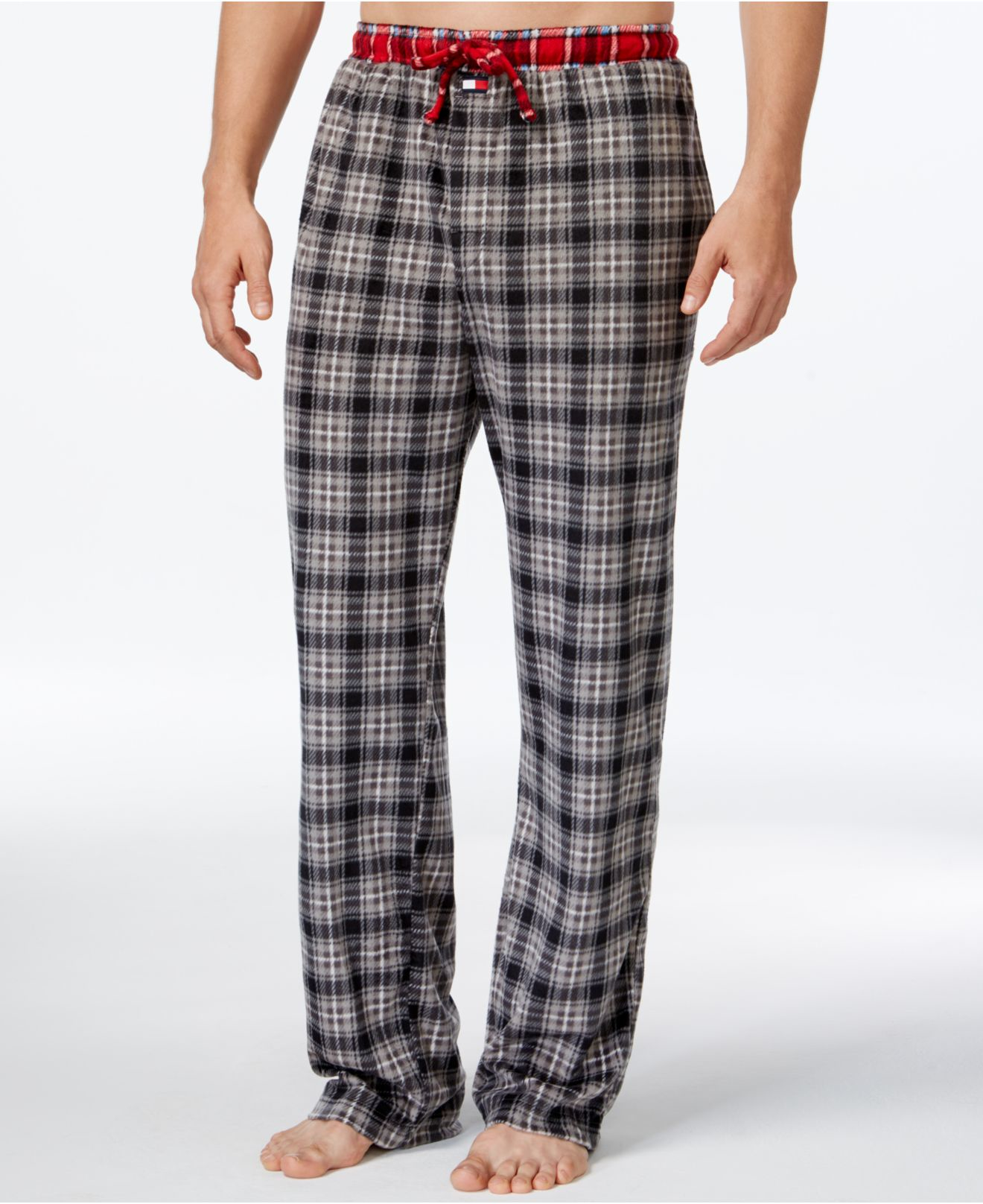 Tommy hilfiger Fleece Plaid Pajama Pants in Gray for Men | Lyst