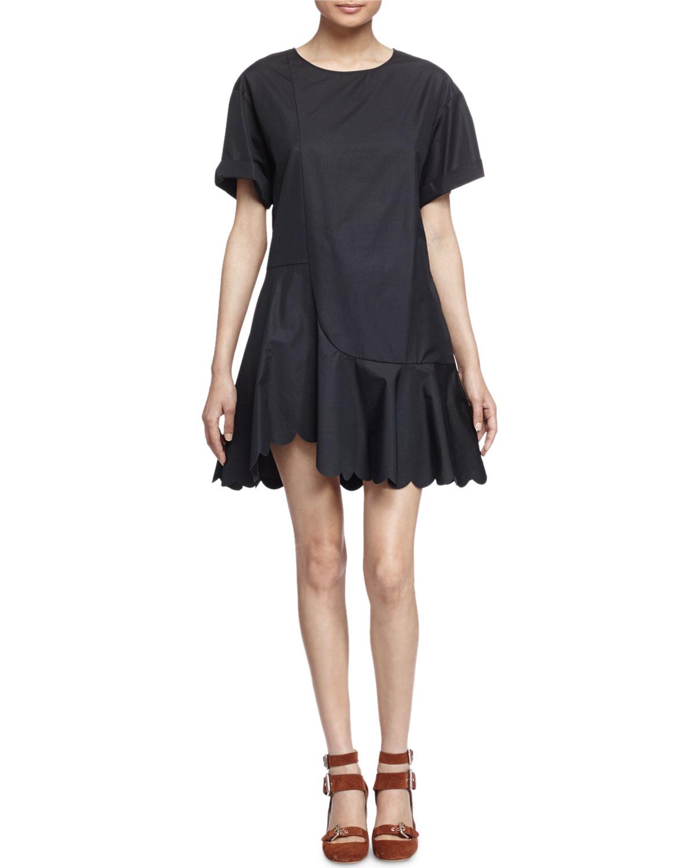 8739fa64e22 Lyst - See By Chloé Scalloped Cotton Poplin Dress in Black
