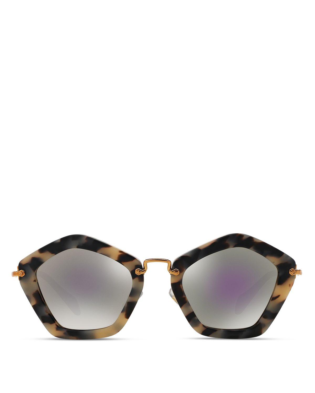 1dea48a9d3 ... Black Crystal   Suede MU 08RS 1AB0A7 49. Miu miu Retro Noir Round  Acetate Sunglasses in Brown