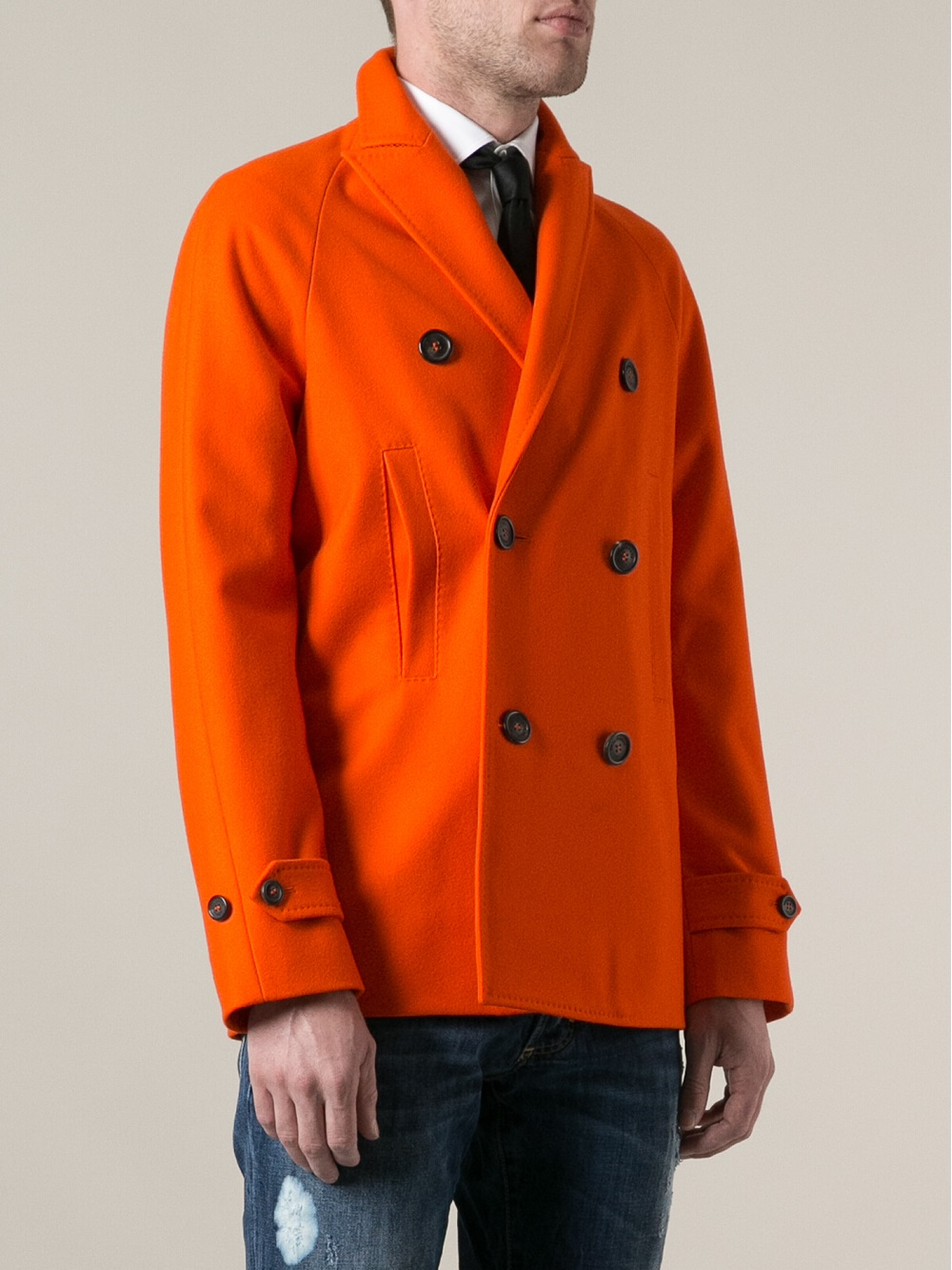 Dsquared² Double Breasted Peacoat in Orange for Men | Lyst