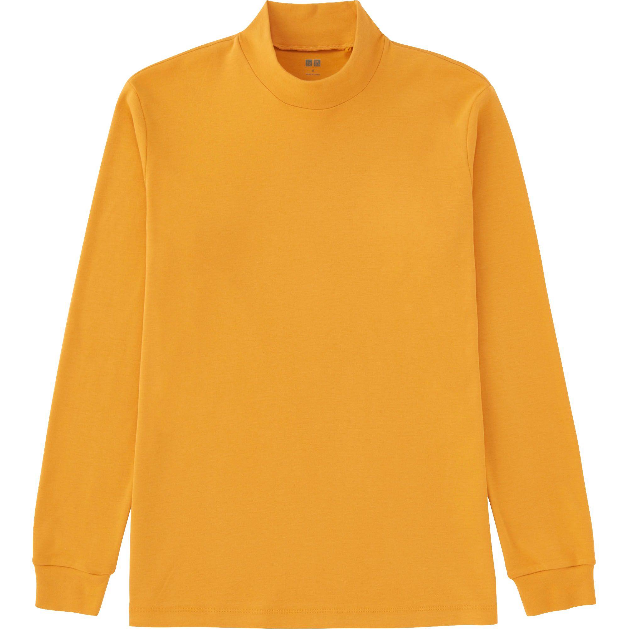 Uniqlo men soft touch mock neck long sleeve t shirt in for Mock long sleeve t shirts