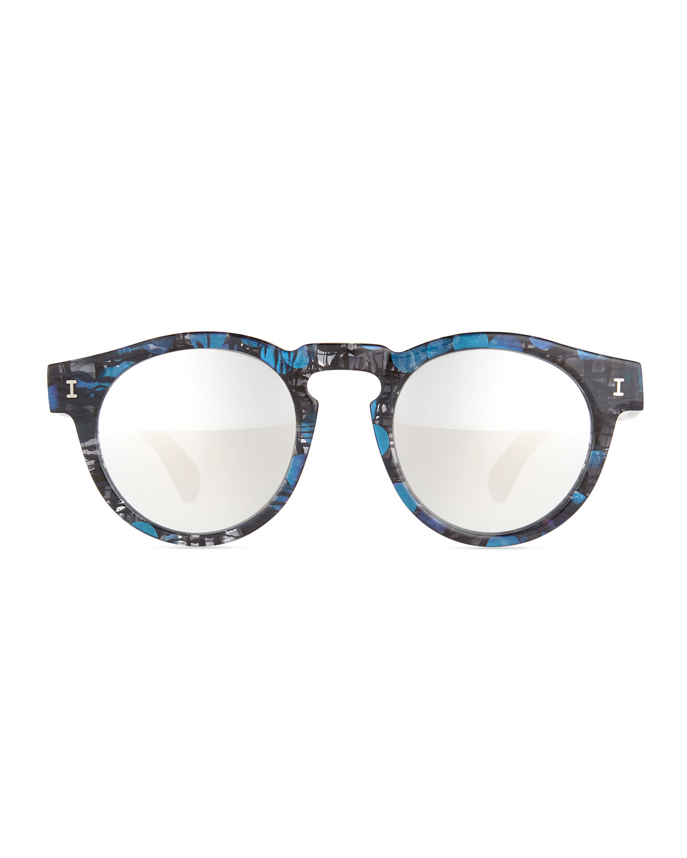 Lyst illesteva leonard printed mirror sunglasses in black for Mirror sunglasses