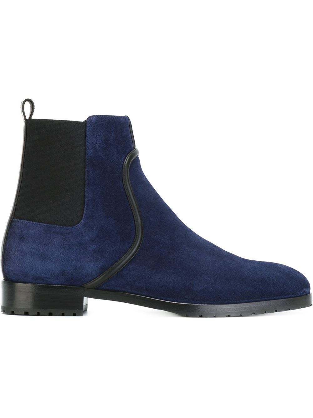 Sergio Rossi Nubuck-Leather Chelsea Boots in Blue