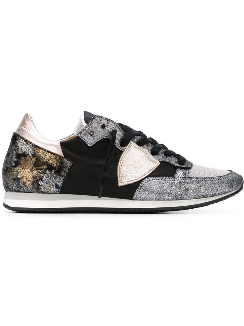 philippe model metallic logo patch sneakers in black lyst. Black Bedroom Furniture Sets. Home Design Ideas