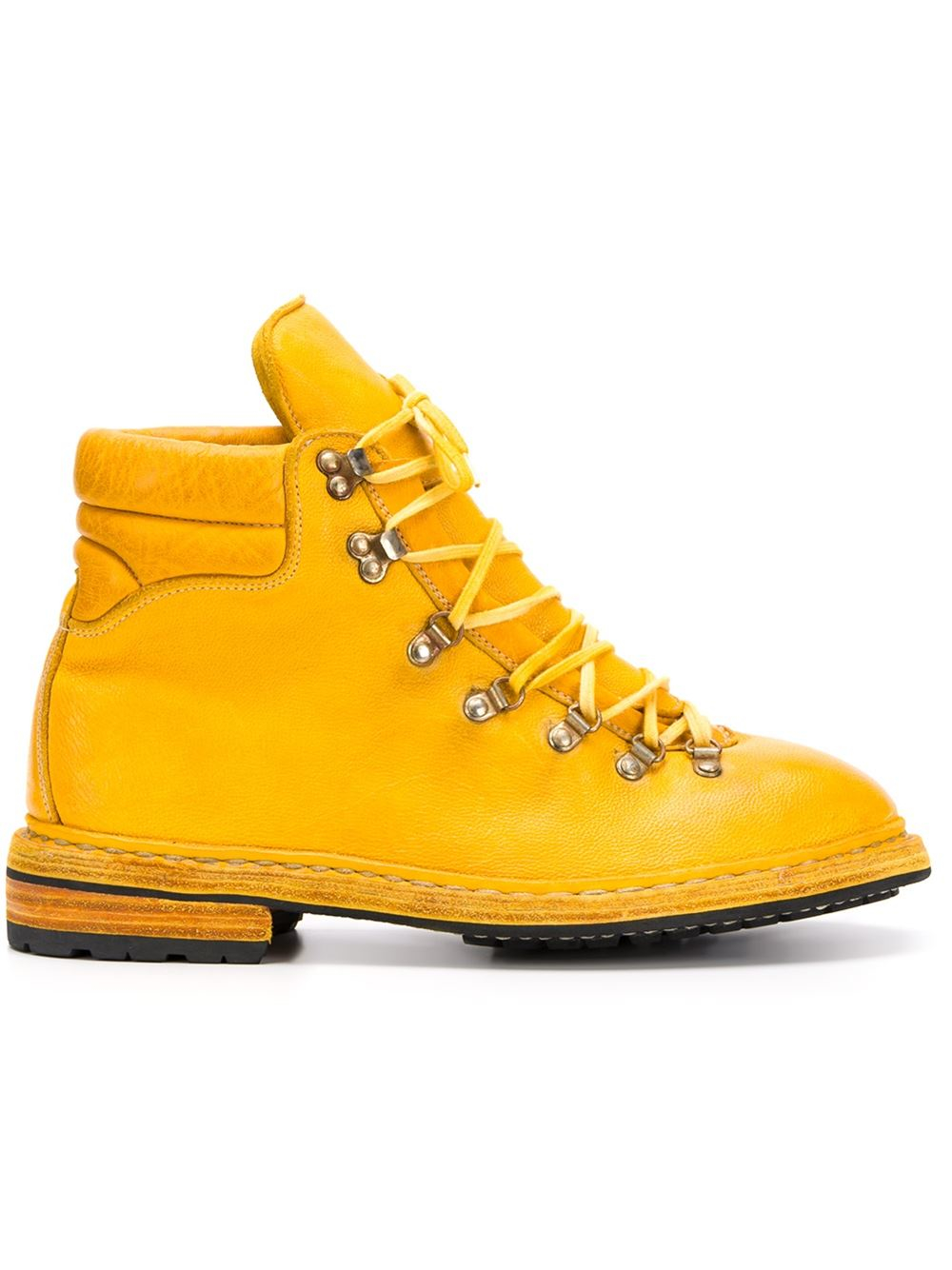Guidi Lace-Up Leather Mountain Boots in Yellow for Men