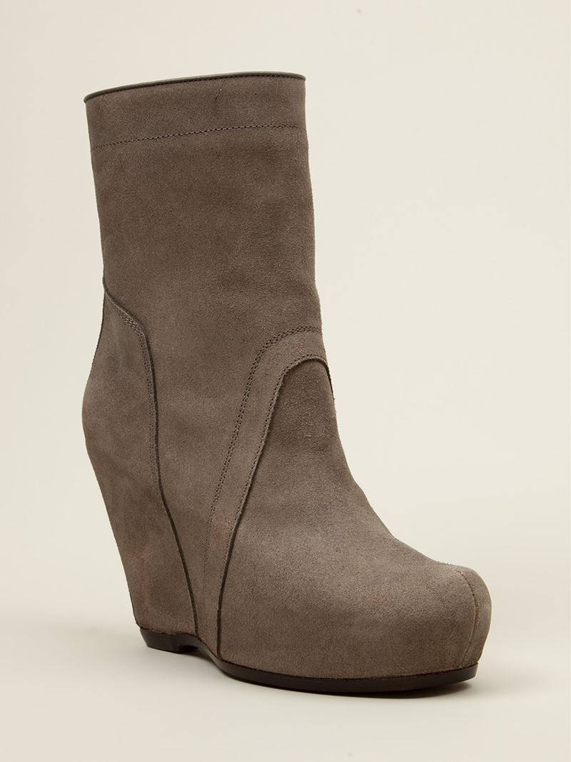rick owens platform wedge boots in gray lyst