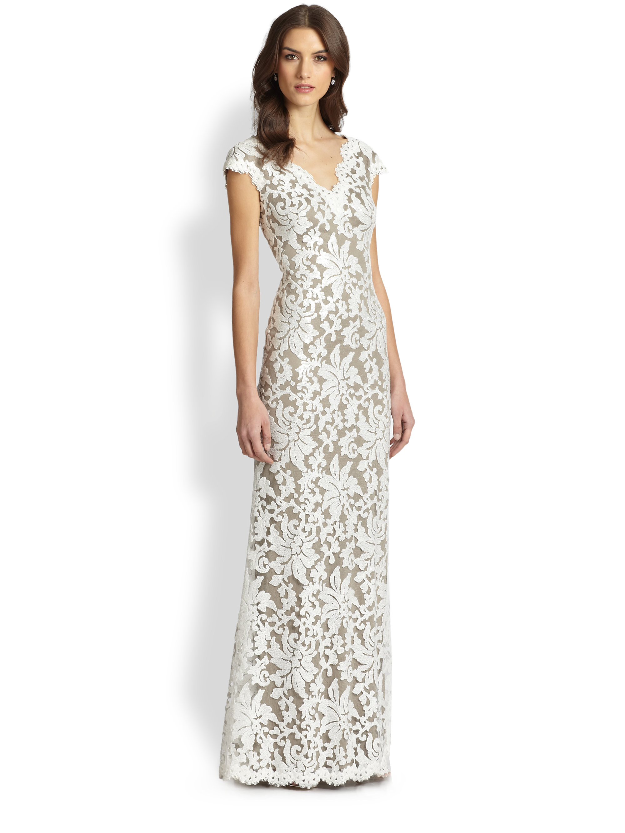 Tadashi Shoji Lace Gown Sequin Dress – fashion dresses
