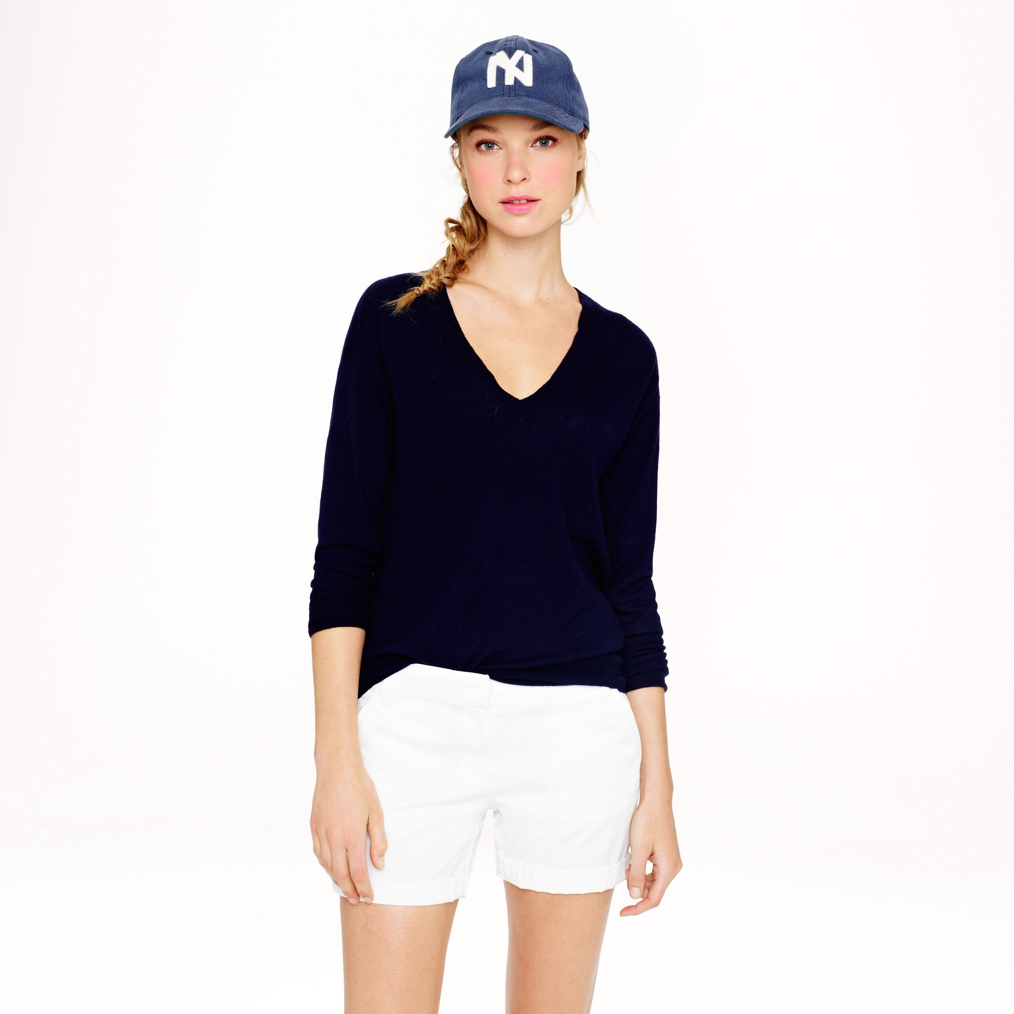 J.crew Collection Featherweight Cashmere V-neck Sweater in Blue | Lyst