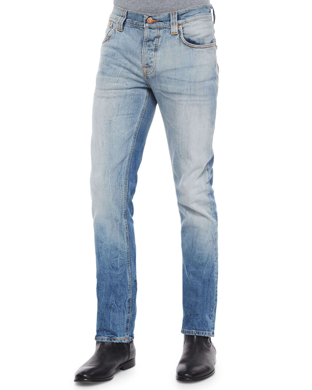 Nudie Jeans Mens Grim Tim Straight Slim Fit Jean In Marble Tears